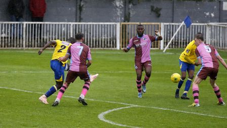 Percy Kiangebeni blasts the ball towards goal. Picture: LEIGH PAGE