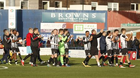 St Ives Town players applauding their travelling fans following their FA Cup loss at York City. Pict