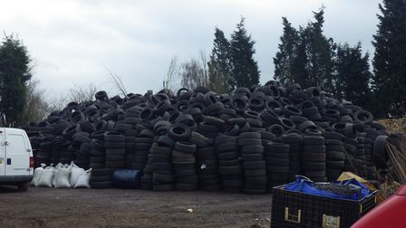 The tyre sites at Lazy Acre Farm, in Whittlesey. Picture: ENVIRONMENT AGENCY