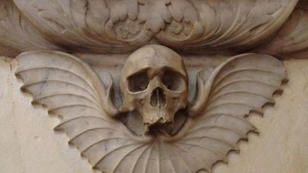 The winged skull at St Albans Abbey will feature on the University of Hertfordshire's Supernatural S