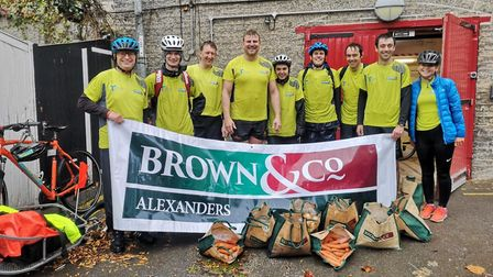 The Brown and Co Alexanders team cycled from Grafham to Cambridge. Picture: CONTRIBUTED