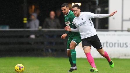 Royston Town V Bedworth United - James Potton in action for Royston Town.Picture: Karyn Haddon