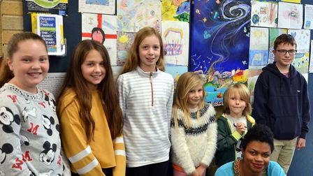 The 2018 Cover Art Competition winners - with artist Stacey Leigh Ross, who designed the cover of th
