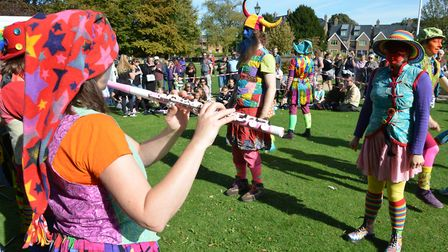 Gog Magog Molly entertains the crowds. Picture: Terry Hartga