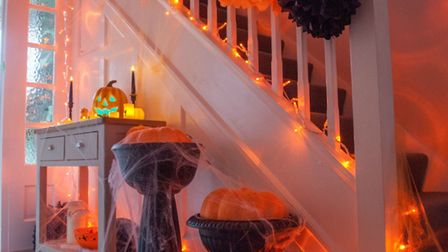 So spooky: 100 Amber LED Connectable Fairy Lights Clear Cable, £25; Jaunty Jack Lifesize LED Pumpki