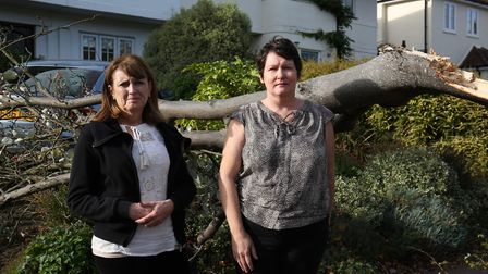 (L-R) Charnmouth Road residents Anne O'Reilly and Gill Owen next to the fallen tree outside Gill Owe