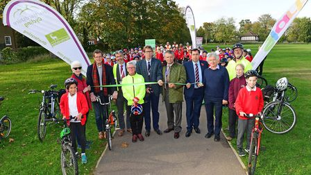 The St Albans Green Ring cycling and walking route is opened by representatives from Herts County Co