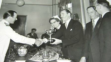 Peter at a prize-giving ceremony at Three Counties Hospital. Picture: Courtesy of E.W Peters