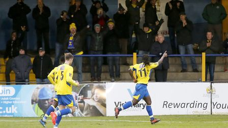 Clovis Kamdjo celebrates his second goal of the game. Picture: LEIGH PAGE