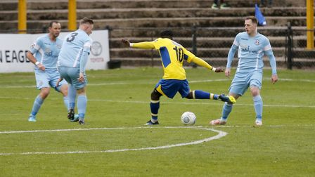 David Moyo fires St Albans City into a 3-1 lead. Picture: LEIGH PAGE