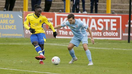 Solomon Sambou creates problems in the Slough penalty area. Picture: LEIGH PAGE