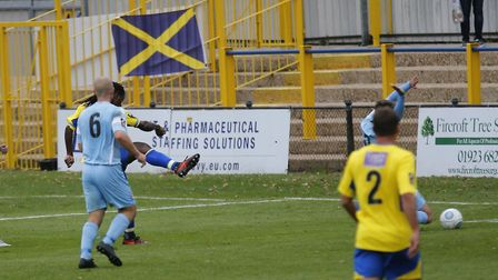 Clovis Kamdjo slots home to bring the Saints level. Picture: LEIGH PAGE