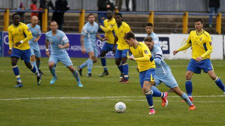 Tom Bender looks for a way through the Slough defence. Picture: LEIGH PAGE