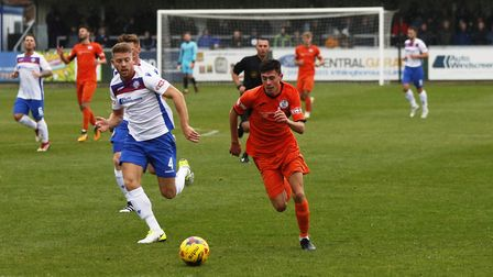 St Ives Town youngster Dylan Wilson on the attack during the FA Trophy defeat to AFC Rushden & Diamo