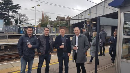 The Save St Albans Pubs delegation to meet Anne Main, at St Albans City station.