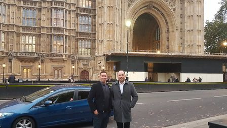 Alan Oliver of the Six Bells pub and Sean Hughes of The Boot pub outside Parliament.