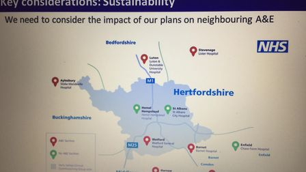 Members of the New Hospital Campaign are campaigning for a central hospital between St Albans, Watfo