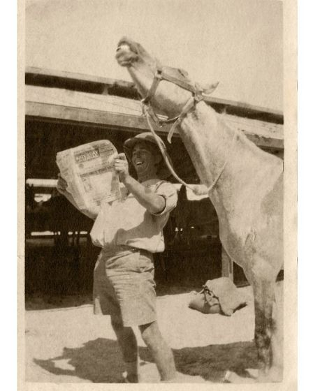 Wheathampstead soldier Charlie Collins sharing a joke with his horse in Egypt in 1916. Picture: Whea