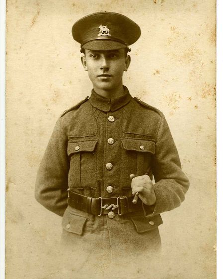 Frank Ivory, age 18, from Wheathampstead, who caught Scarlet Fever before he could be sent to the fr