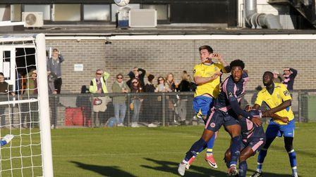 Tom Bender looks on as his header goes over the bar. Picture: LEIGH PAGE