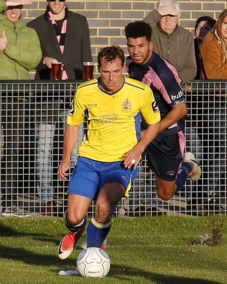 Ben Herd in action against Dulwich Hamlet. Picture: LEIGH PAGE