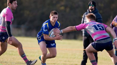 St Ives man Joseph Cox runs at the Olney defence last Saturday. Picture: PAUL COX