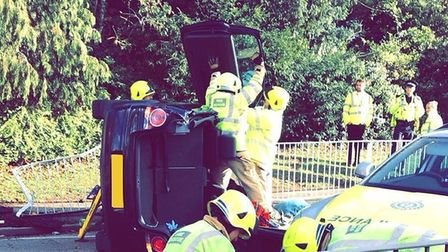 The Polo which overturned on Watling Street in St Albans. Picture: Nicola Kalozois.
