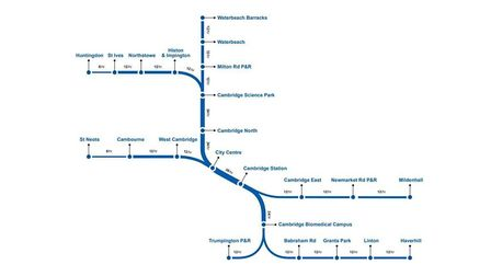 The proposed route for the mayor's Cambridge Metro. Picture: CONTRIBUTED