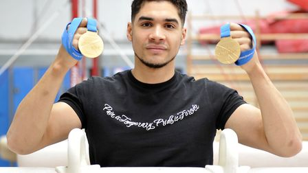 Louis Smith with two of the medals won during his glittering career.