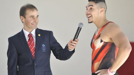 Louis Smith (right) with his coach Paul Hall at Huntingdon Olympic Gymnastics Club.