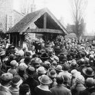 The dedication of the lych gate at Sandridge in1921. Photo is from the Reg Auckland collection, on t