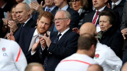 Prince Harry and Princess Anne with former RFU president Peter Baines during the 2017 RBS 6 Nations