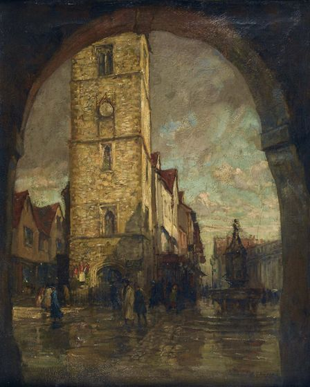 St Albans Clock Tower through Waxhouse Gate by Henry Mitton Wilson. Picture: St Albans Museums