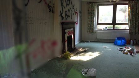 One of the homes in RAF Brampton has been subject to vandalism.