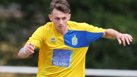 Archie McClelland scored three of Harpenden Town's seven against Potton United.Picture: Karyn Ha