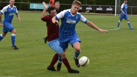 Danny Draper was the first of the Eynesbury Rovers players to see red. Picture: J BIGGS PHOTOGRAPHY