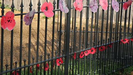 Decorations in Woodlane in Ramsey, to mark the centenary of the end of the Great War