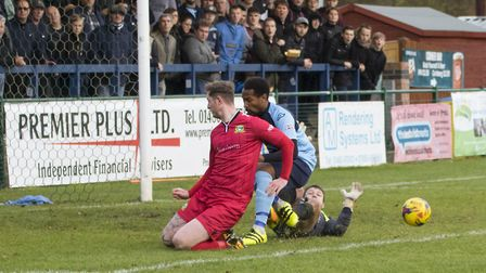 Nabil Shariff threatens for St Neots Town during their FA Trophy exit. Picture: CLAIRE HOWES