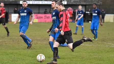 Huntingdon Town frontman Corey Kingston hit a hat-trick in their Hinchingbrooke Cup win. Picture: J