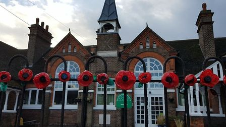 Camp School pupils made poppies from recycled plastic this Remembrance Day. Picture: Helen Giffen