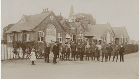 The picture which was taken in 1914, where Camp School pupils stood to remember the fallen this Reme
