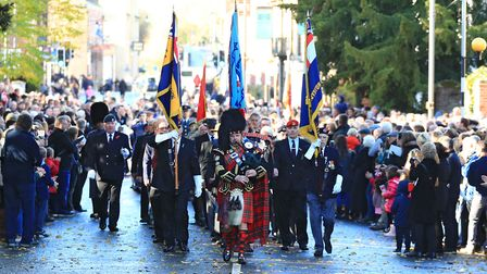 The Royston Parade moves on after the Remembrance Sunday Service in Royston Town. Picture: KEVIN RIC