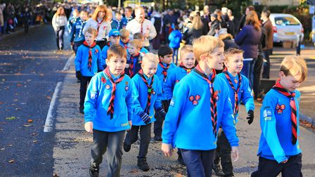 Cubs in the parade after Remembrance Sunday Service in Royston Town. Picture: KEVIN RICHARDS