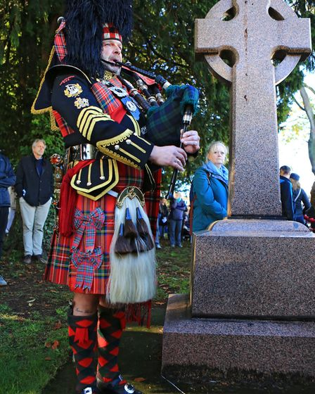 Lead Piper, Roy Slone, just before 11am at the Remembrance Sunday Service in Royston Town. Picture: