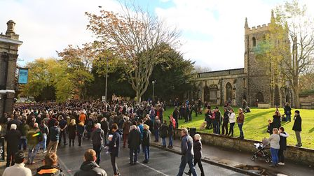 St.John the Baptist Church where a bumper gathering pay their respects during Remembrance Sunday Ser