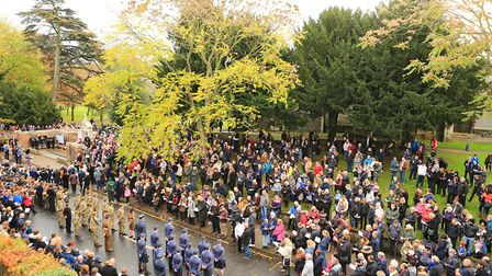 An ariel view during Remembrance Sunday Service in Royston Town. Picture: KEVIN RICHARDS