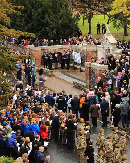 Ariel view of the Remembrance Sunday Service in Royston Town. Picture: KEVIN RICHARDS