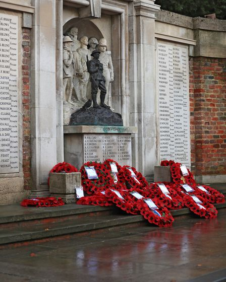 Wreaths at the Royston War Memorial during Remembrance Sunday Service in Royston Town. Picture: KEVI