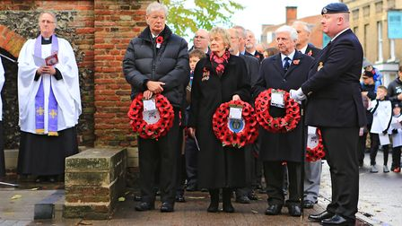 About to lay wreaths during Remembrance Sunday Service in Royston Town. Picture: KEVIN RICHARDS