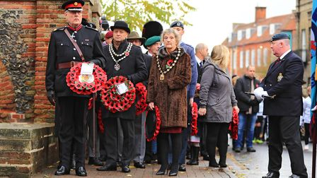 Royston Mayor Iain Leggett and Deputy Lieutenant of Hertfordshire Neville Reyner about to lay wreath